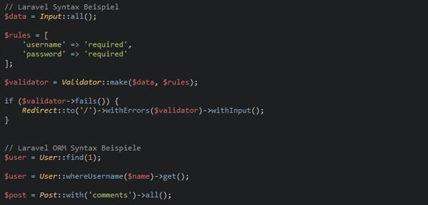 Laravel Code Beispiel