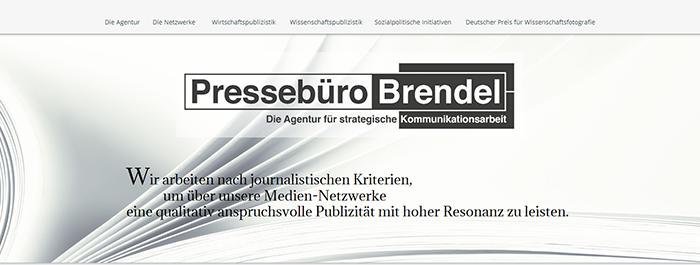 Screenshot neuer Webseite von Pressebüro Brendel