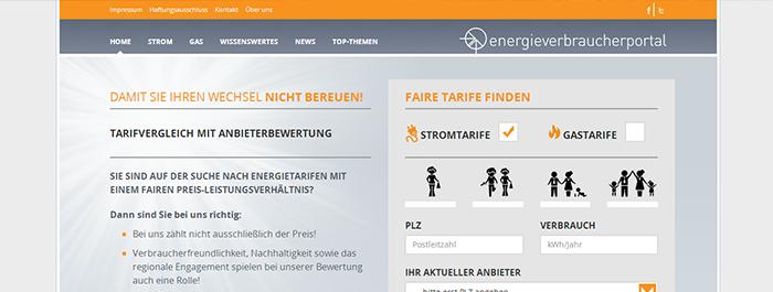 Screenshot Startseite Energieverbraucherportal
