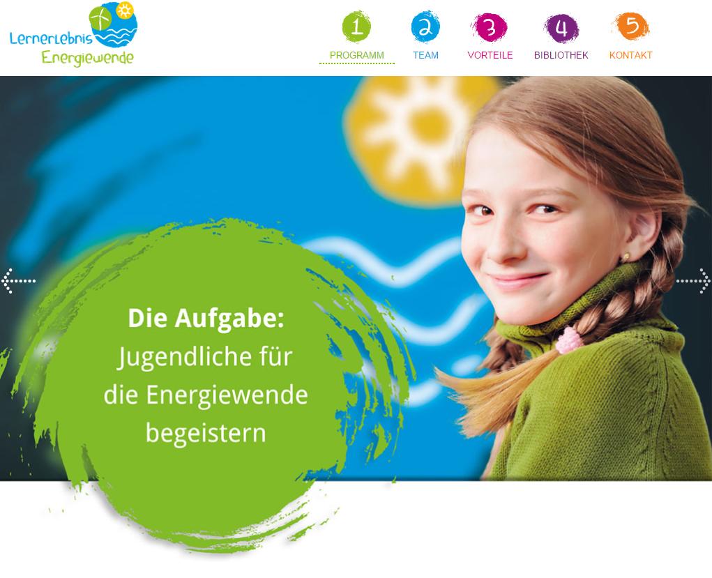"""Screenshot der Webseite von """"Lernerlebnis Energiewende"""""""