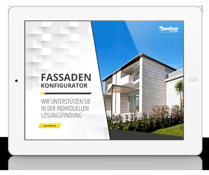 Saint Gobain Weber Fassadenkonfigurator App Startscreen
